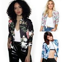 Wish   3 Colors Ladies Fashion Casual Floral Printed Bomber Jacket Coat S-XXL