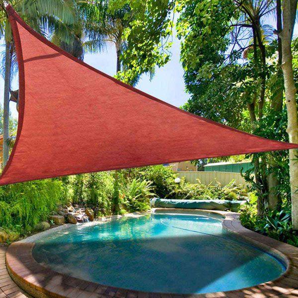 16.5' Triangle Outdoor Sun Shade Sail Canopy Dark Red