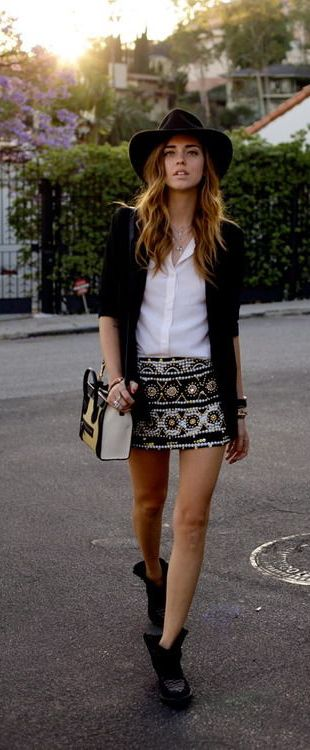 Embellished skirt + classic pieces