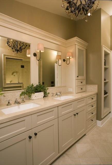 bathroom ideas-white cabinets: Bathroom Design, Masterbath, Vanities, Bathroomdesign, Bathroom Ideas, Traditional Bathroom, House, Bathroom Cabinets, Master Bathroom
