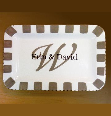 Hand painted plate with large initial and first names.