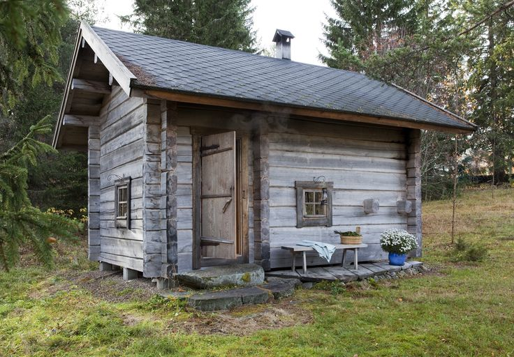 Exterior of the traditional Juuka based smoke sauna introduced in the Wall…