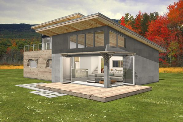 Love love love passive solar design with a roof deck for Solar cottage plans
