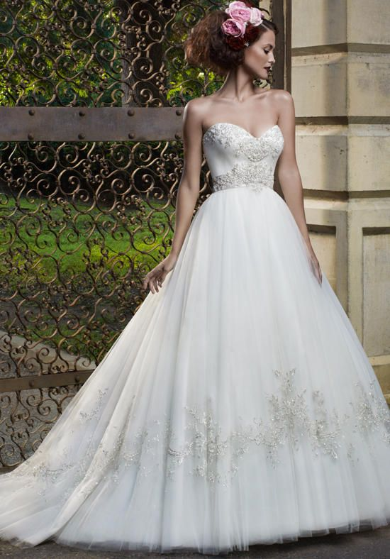 Full Ball Gown With Beautiful Heavy Embroidery And Beading On A Sweetheart Neckline