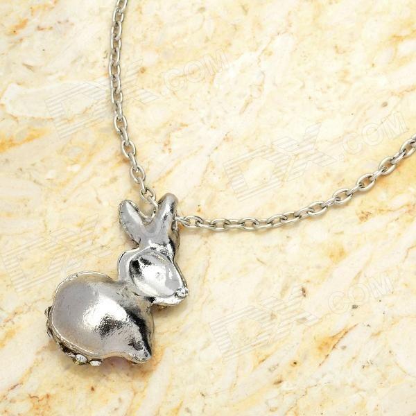 Cute Rabbit Style Rhinestone Pendant Necklace - Pink + Silver