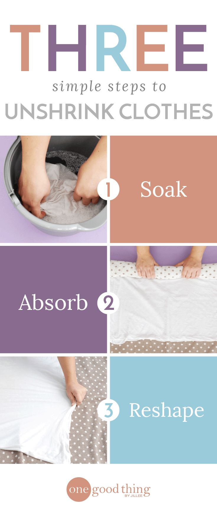 Unshrink Your Clothes In 3 Simple Steps. Add capful of baby shampoo to bucket of lukewarm water!