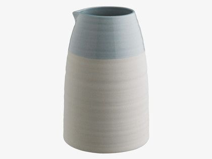 ONDA Stoneware Large jug with blue rim 1L - HabitatUK