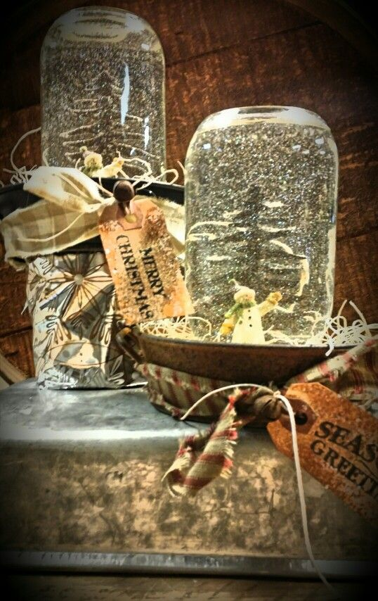 Fun primitive snow globes made with products offered in for Anne marie witmeur decoration
