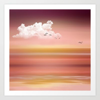 FROM DUSK TO DAWN - a golden sunset Art Print by VIAINA - $19.99