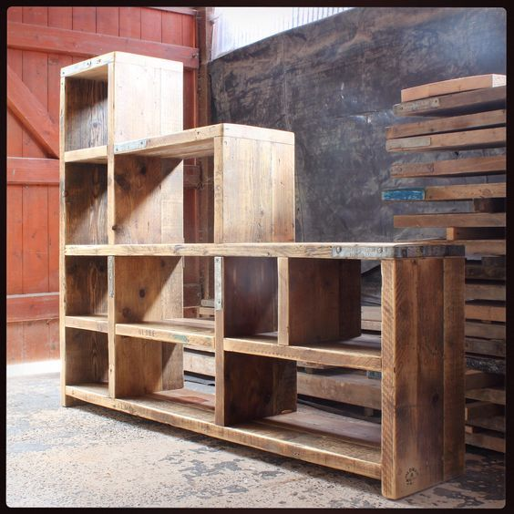 Stylish Understairs Study: Reclaimed Wood Bookcase