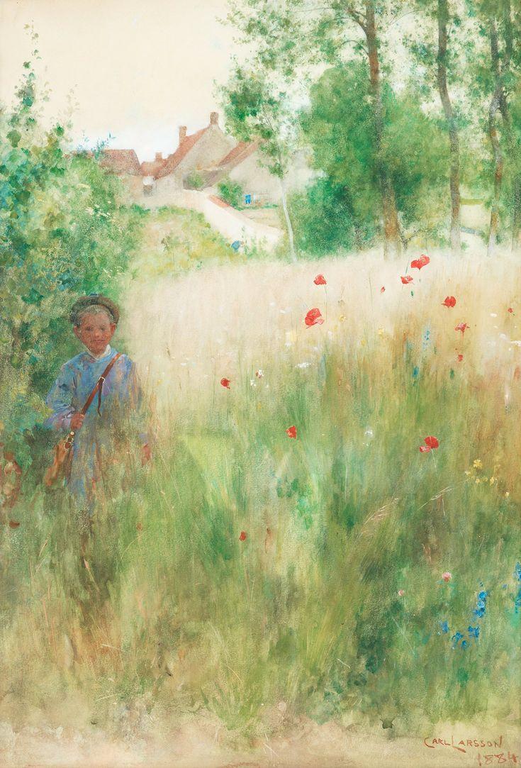 "Carl Larsson (Swedish, 1853-1919) - ""Vallmor"" (Poppies), 1884, Watercolor, 63,5 x 44 cm."