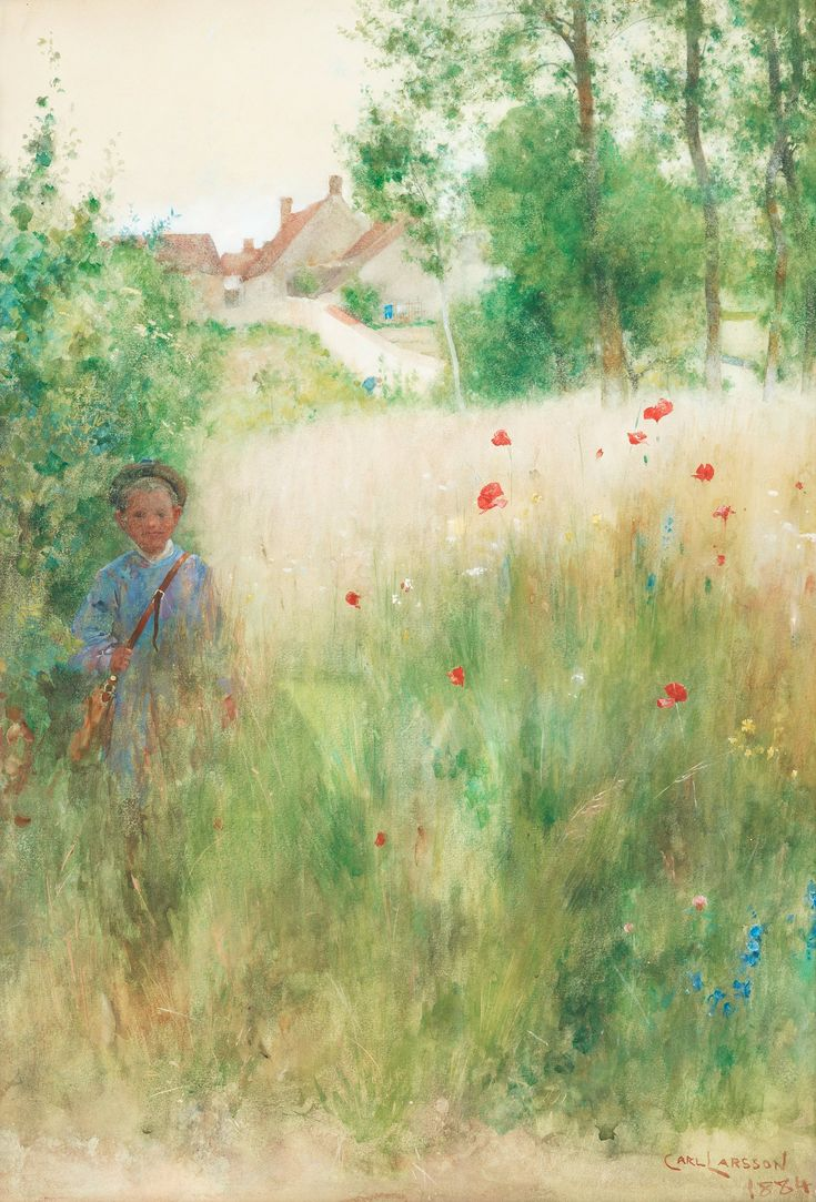 Boy In Meadow ~ Carl Larsson ~ (Swedish 1853-1919)
