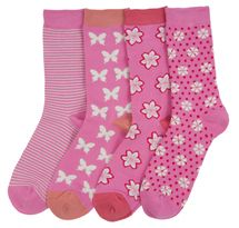 Pink 4 pair set of women's soft bamboo crew socks | Exclusive by Braintree