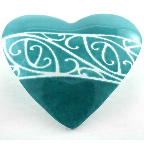 Kowhaihai Fused Glass Heart by Cre8ive Glass Teal