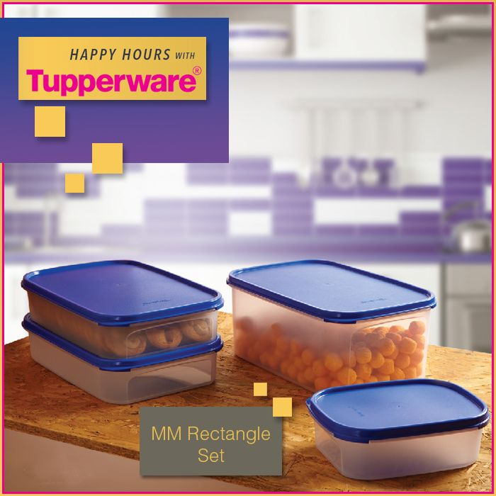 Tupperware values our heartfelt cravings… Store your favorite cookies, chocolates or any snacks in this MM Rectangle Set and never run out of happiness fuel