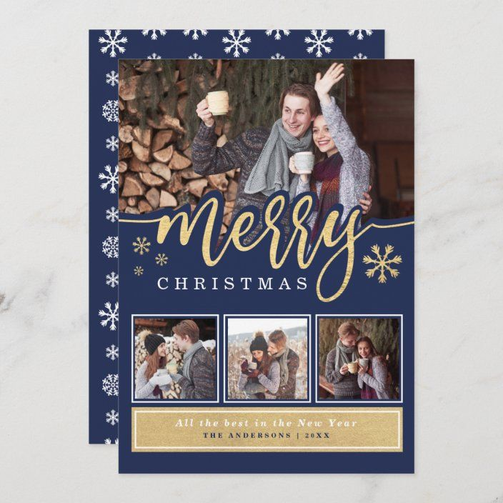 Chic Navy Gold Merry Christmas Photo Collage Holiday Card Zazzle Com Merry Christmas Photos Christmas Photos Holiday Design Card