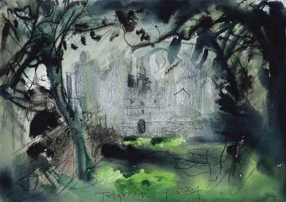 John Piper - Tolquhon Castle, ink, pastel,...
