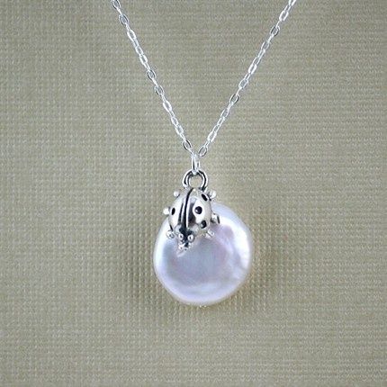 Very Cute and not expensive :)    Ladybug climbs on freshwater pearl  STERLING SILVER by DelicacyJ, $35.00