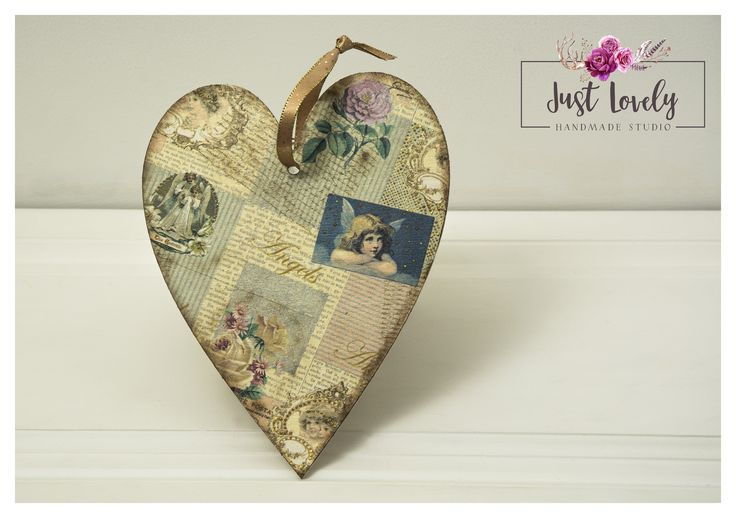Vintage heart, Angeles, gold&brown