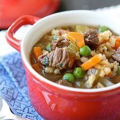 Lean Bison & Barley Soup with Green Peas