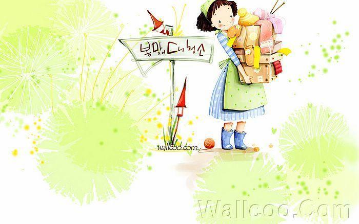 Kim Jong Bok Illustrations(Vol.03) - Cartoon Cute Fairy Girl  - Art Illustration : Lovely Helpful Girl 6