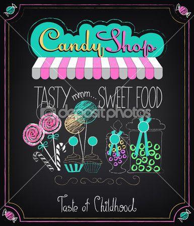 Ilustración de elemento gráfico vintage en el pizarrón. tienda de dulces
