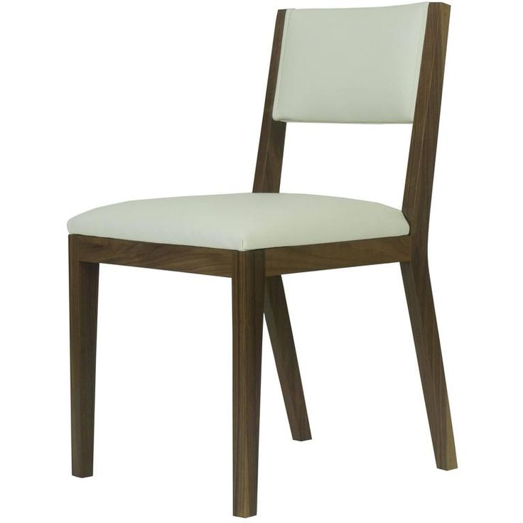 Scandinavian Modern Walnut and Cream Leather Dining Chair ...