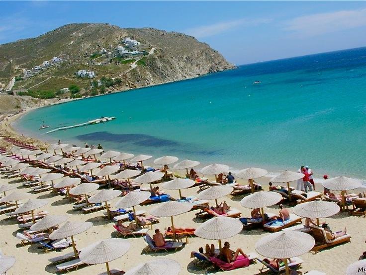 Turquoise sea water in Elia #beach on #Mykonos island
