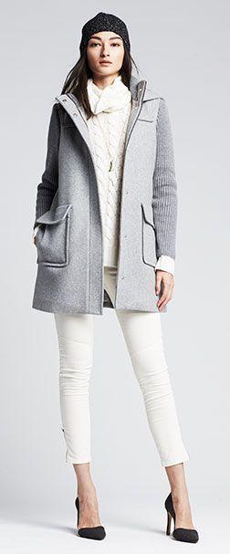 Sweater-Sleeve Duffle Coat. White+Grey