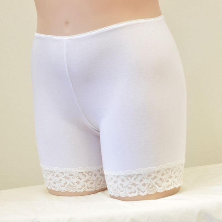 Excited to share the latest addition to my #etsy shop: White Pettipants, long panties, anti-chafe panties, bicycle pants, under shorts, anti-chafe knickers, slip shorts, modesty shorts, tap pants http://etsy.me/2DGnfsh #clothing #women #shorts #pettipants #modestyshort