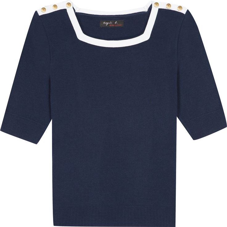 """t-shirt square bleu Le t-shirt square a été confectionné dans l'esprit d'un petit pull en maille. Bleu marine avec encolure carrée et agrémentée de pressions métal gravées """"b""""."""