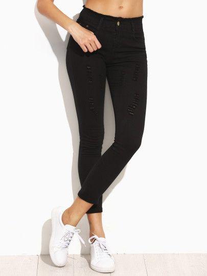 Jeans moulants décontracté effet déchiré - noir