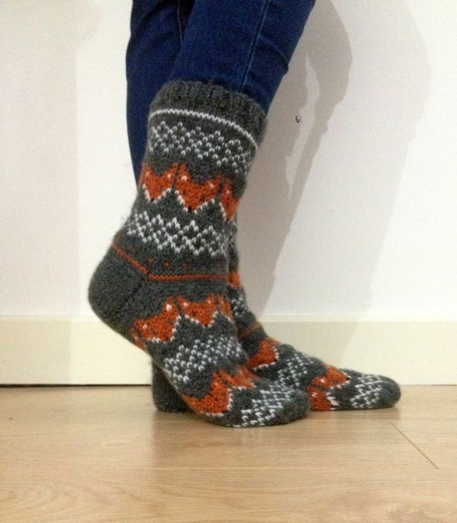 Hand Knit Wool Socks Fox Socks Foxy Grey Orange White Scandinavian Fair Isle