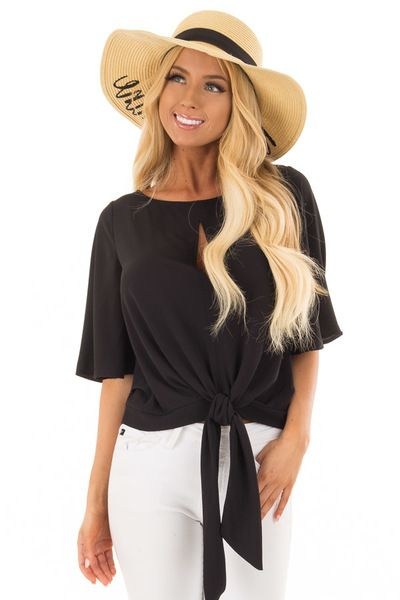 e605c7086a1a2 Black Keyhole Blouse with Front Tie Detail - Lime Lush Boutique