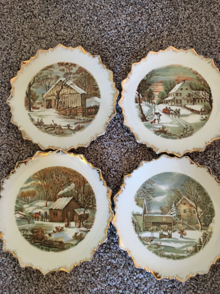 Vintage Currier and Ives Winter Homestead Plates~~Set of 4