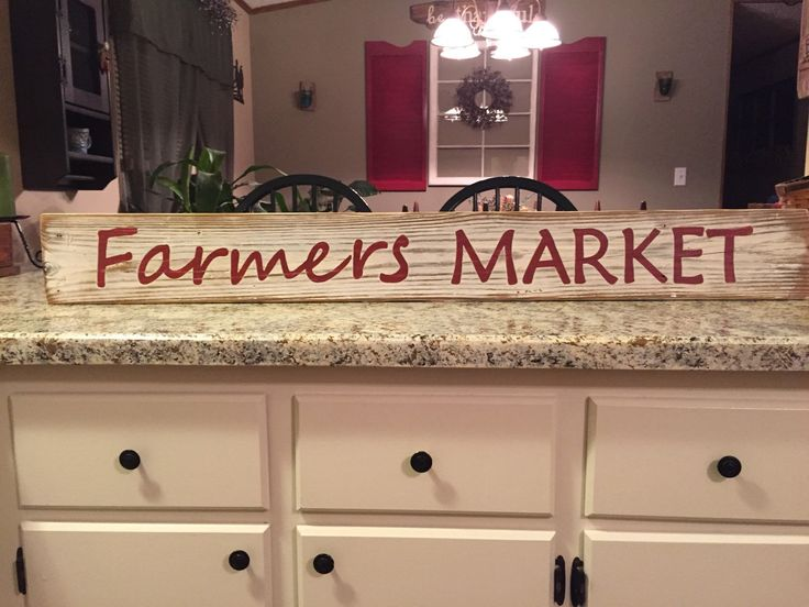 Farmers Market Barnwood Sign, kitchen sign, farmhouse kitchen, fixer upper sign, fixer upper kitchen sign, hand painted wood sign by ASmidgeofCharacter on Etsy