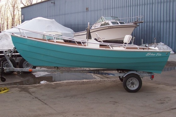 New 2012 Blue Fin Boats Dory 15 Skiff Boat - Cool Teal Color.