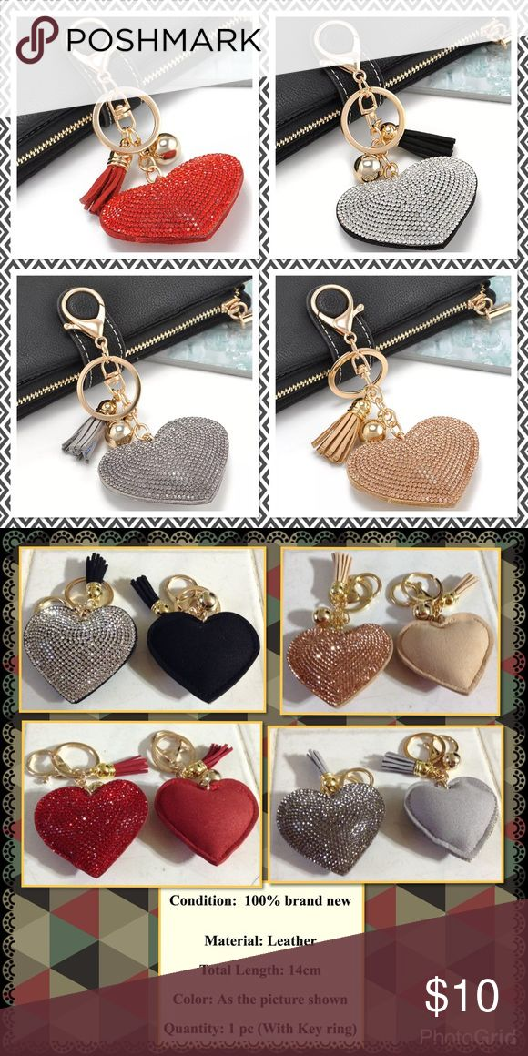 "Crystal Heart Rhinestone Leather Tassel Keychain High quality heart shape rhinestones leather tassel heart size 2"" x 2-1/2"" brand new in package 4 colors to choose from Red, black, gray and champagne 💥Price is firm unless bundle 💥 Accessories Key & Card Holders"