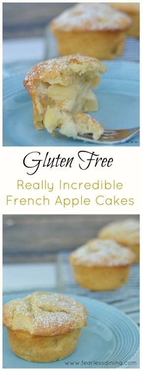 Gluten Free French Apple Cakes. Easy gluten free apple cake recipe. how to make apple cake. Simple gluten free cake.  #frenchapplecake #glutenfree http://www.fearlessdining.com