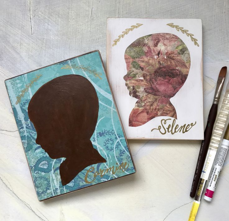 """Wood Child Silhouette Portrait — Printed Paper Mixed Media — Child Profile Portrait — Graduation Baptism First Communion Mom, 5.5""""x7"""" by GertieDaeStudios on Etsy https://www.etsy.com/uk/listing/526135439/wood-child-silhouette-portrait-printed"""