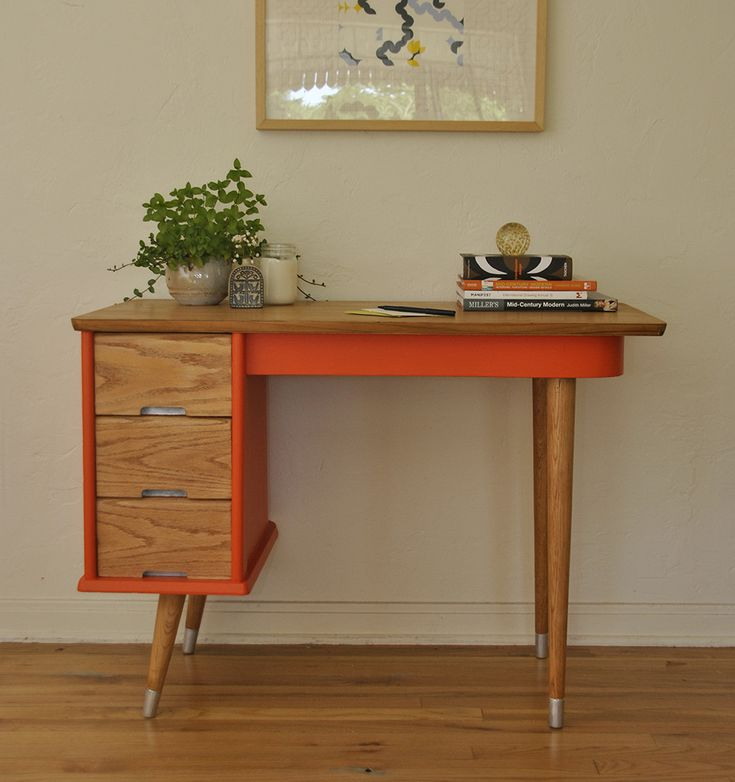 Vintage Orange Mid Century Desk