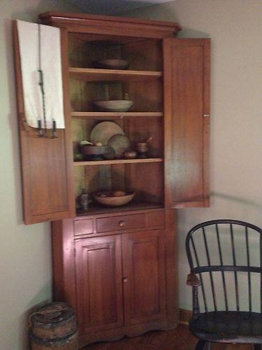Antique Primitive Corner Cupboard Cabinet Great Size Color 2