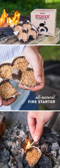 These all-natural firestarters get flames going quickly and easily, without using any accelerants or kerosene. Stokes uses just three ingredients—sawdust, paraffin wax, and recycled egg cartons—and that's all. Light one under charcoal or wood to start a fire in the fireplace, on the grill, or in a wood burning stove.
