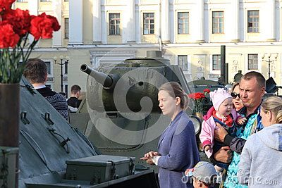 Soviet tank T-70 and people. Soviet light tank. This tank was involved in World War II. Restored by search engines. Palace Square. Saint-Petersburg, Russia