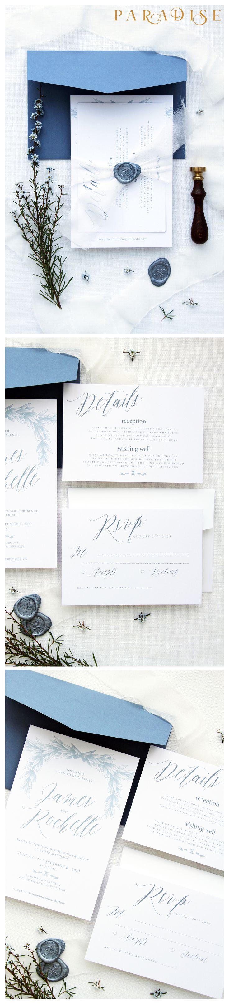 Rochelle Dusty Blue Wedding Invitation Sets, Wax Seal Invitations, Luxury Wedding Invitation, Silk Belly Band, Wax Stamp Invitations #weddinginvitation #weddings #bride #weddingstationery #weddinginvitations #weddingtrends #weddinginspo #weddingstyle