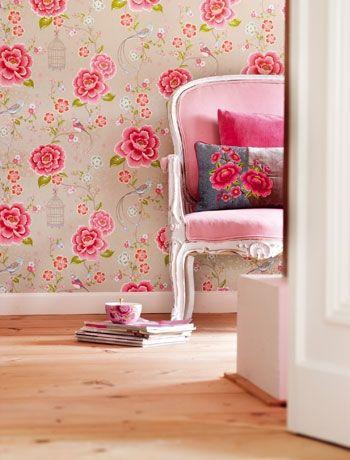 Eclectic living room wallpaper