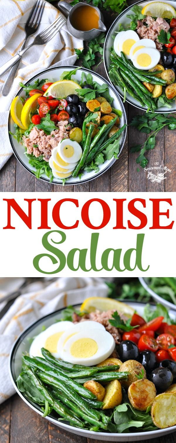 This classic Nicoise Salad is a simple, fresh, and easy lunch or dinner option! Tuna Recipes | Tuna Salad | Salad Recipes Healthy | Salads #salad #tuna #dinner #lunch #healthydinner #healthy #healthyrecipe #TheSeasonedMom