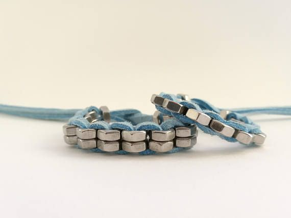Hardware bracelets with brass hex nuts , industrial design bangles , light blue suede leather cord hex nut jewelry HEXNUTSMADE