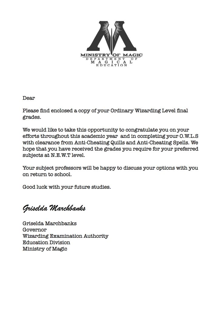 Harry Potter cover letter received with O.W.L results!