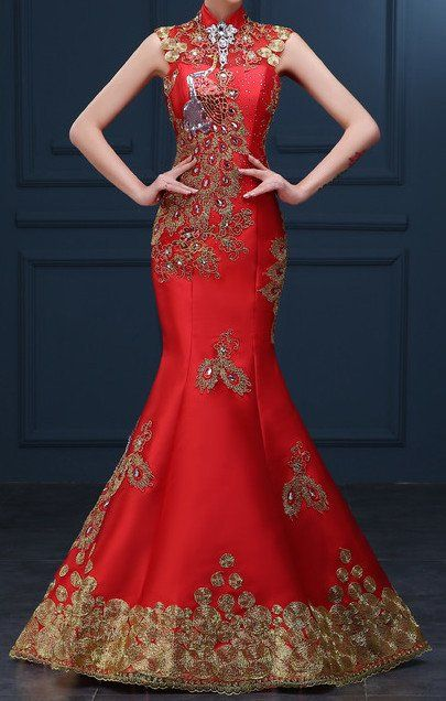 Women's Red Golden Embroidery Sequined With  Phoenix Qipao .Cheongsam.EMQ3  #elliemei #qipao #cheongsam #redqipao #redcarpetdress #embroiderydress #phonixembroidery #chinesestyle #chinesefashion #weddingdress